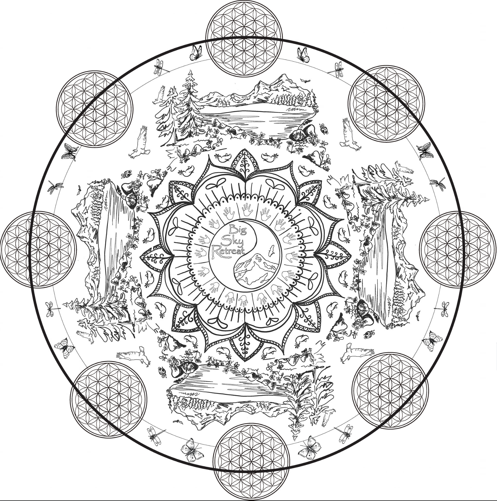 Black and White Large Mandala