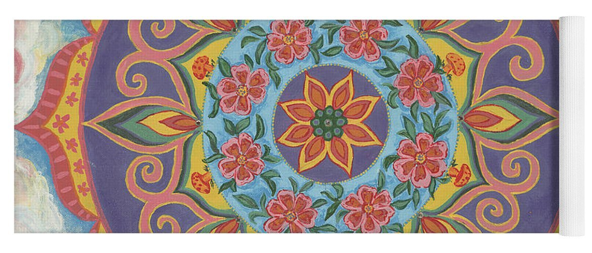 Mandala yoga mat with grip